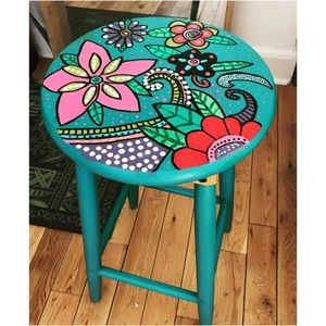 🍁My Art HandPainted Wood Stool Semi precios stone